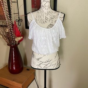Cold shoulder Peasant style top